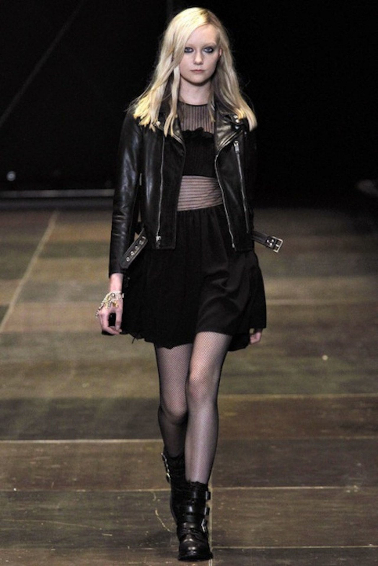 saint laurent bare midriff black leather