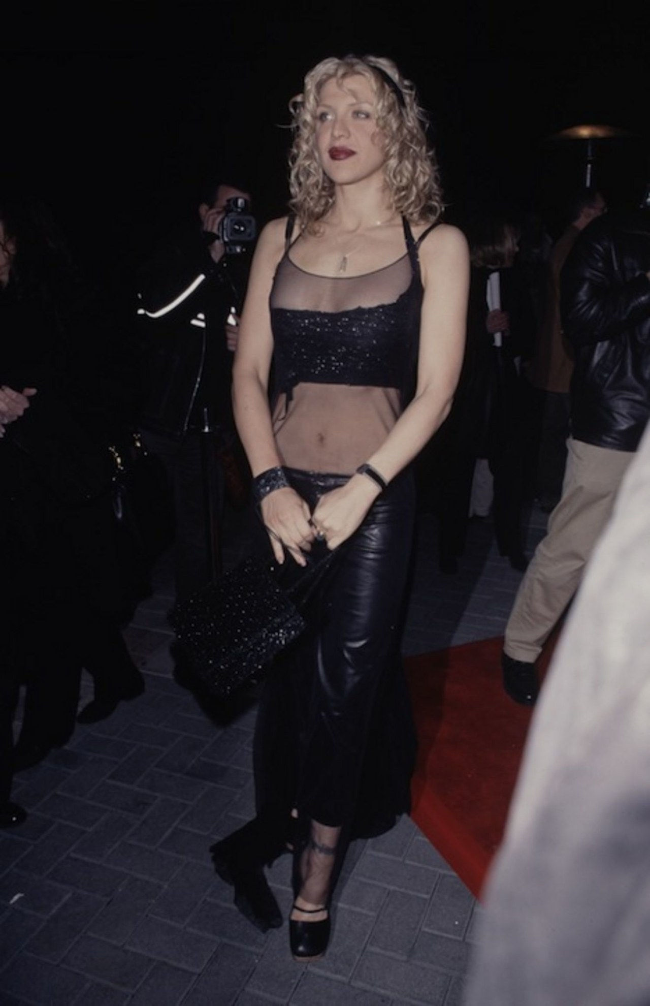 courtney love saint laurent bare midriff