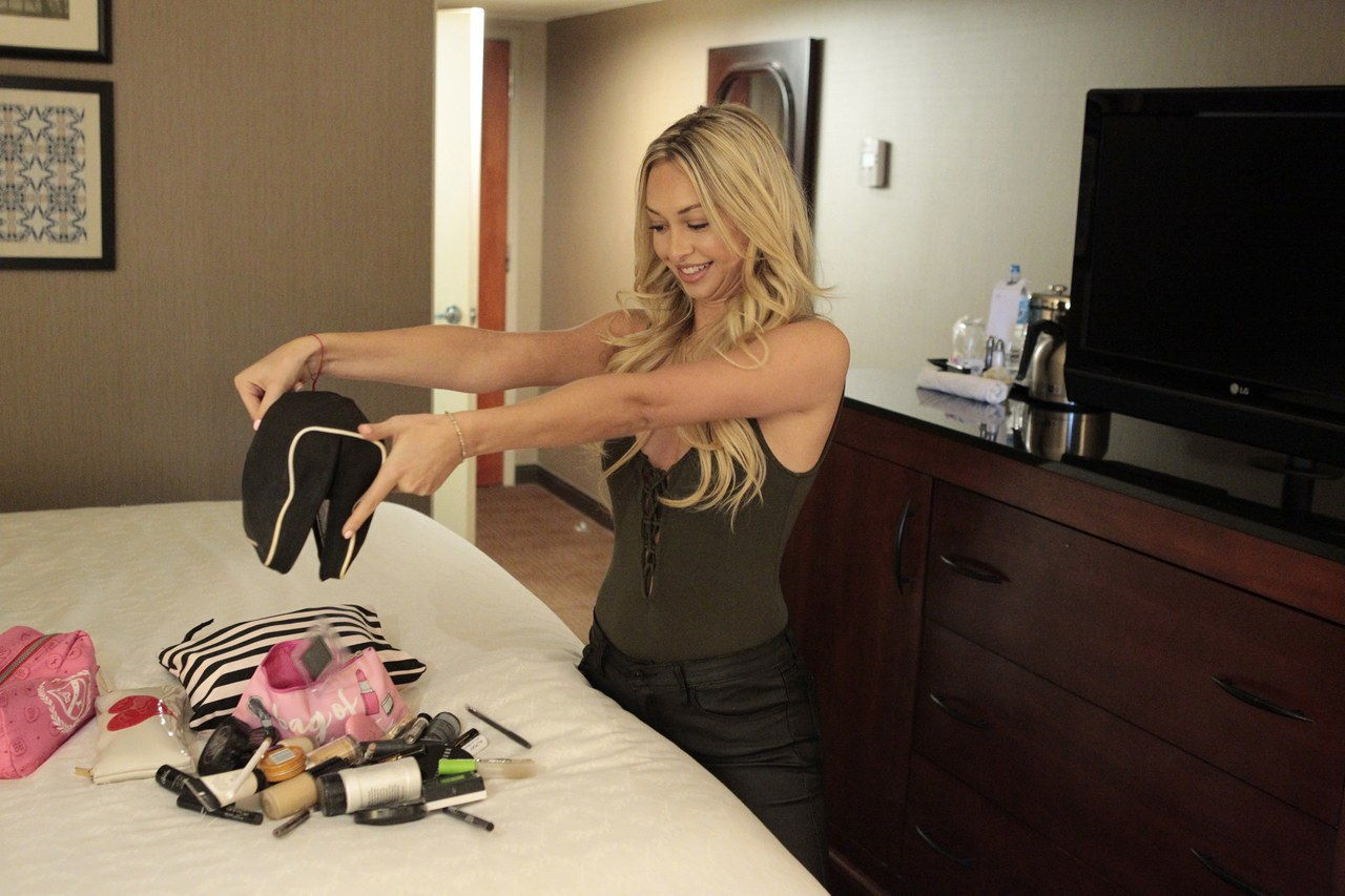 * The Bachelor*'s Corinne shows *Glamour* the contents of her makeup bag.